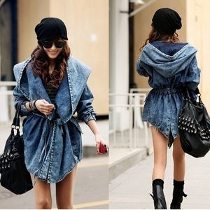 Denim Acid Wash Parka Jacket